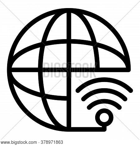 Global International Remote Access Icon. Outline Global International Remote Access Vector Icon For