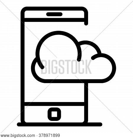 Smartphone Cloud Remote Access Icon. Outline Smartphone Cloud Remote Access Vector Icon For Web Desi