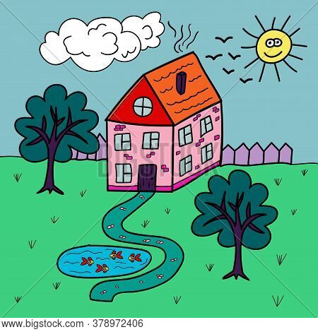 Cartoon Doodle Linear House In Childlike Style With Garden And Pond. Village Building. Vector Illust