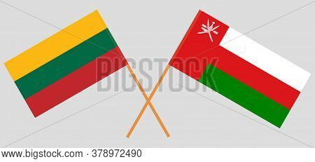 Crossed Flags Of Oman And Lithuania. Official Colors. Correct Proportion. Vector Illustration