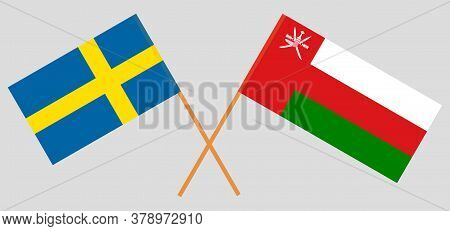Crossed Flags Of Oman And Sweden. Official Colors. Correct Proportion. Vector Illustration