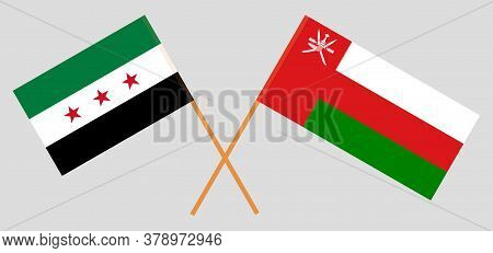 Crossed Flags Of Oman And Interim Government Of Syria. Official Colors. Correct Proportion. Vector I