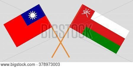 Crossed Flags Of Oman And Taiwan. Official Colors. Correct Proportion. Vector Illustration