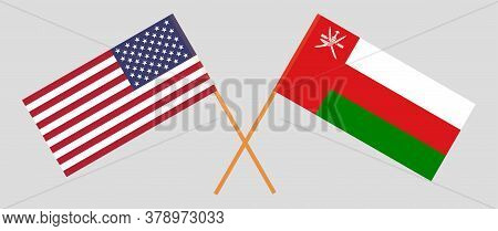 Crossed Flags Of Oman And The Usa. Official Colors. Correct Proportion. Vector Illustration