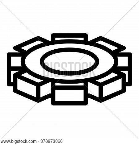Metallurgy Cog Wheel Icon. Outline Metallurgy Cog Wheel Vector Icon For Web Design Isolated On White