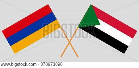Crossed Flags Of Sudan And Armenia. Official Colors. Correct Proportion. Vector Illustration