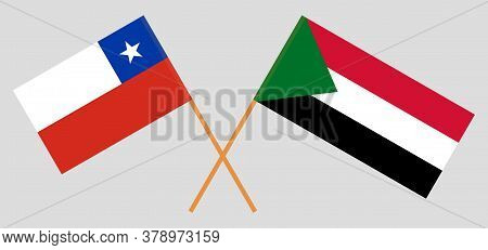 Crossed Flags Of Sudan And Chile. Official Colors. Correct Proportion. Vector Illustration