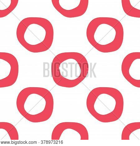 Abstract Round Shape Geo Seamless Pattern. Geometric Uneven Ring Infinity Backdrop. Wrapping Paper.