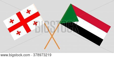 Crossed Flags Of Sudan And Georgia. Official Colors. Correct Proportion. Vector Illustration