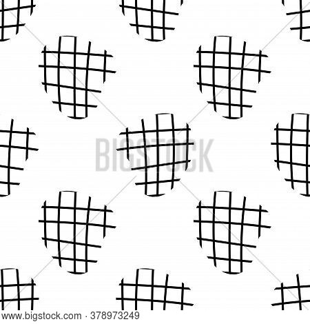 Doodle Checkered Seamless Pattern. Abstract Geo Backdrop. Cartoon Outline Shapes Background. Geometr