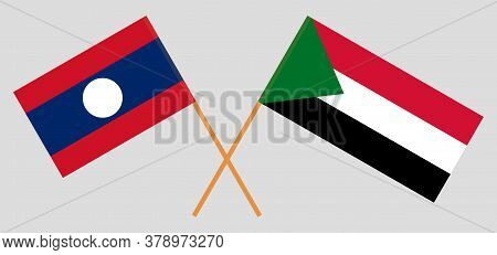 Crossed Flags Of Sudan And Laos. Official Colors. Correct Proportion. Vector Illustration