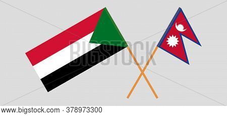 Crossed Flags Of Sudan And Nepal. Official Colors. Correct Proportion. Vector Illustration