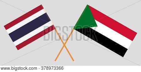 Crossed Flags Of Sudan And Thailand. Official Colors. Correct Proportion. Vector Illustration