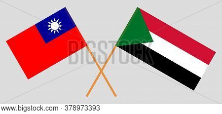 Crossed Flags Of Sudan And Taiwan. Official Colors. Correct Proportion. Vector Illustration