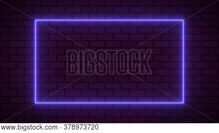 Empty Frame With Electric Power Round Border Glowing, Purple Color Neon Lightning Sign On Brick Wall