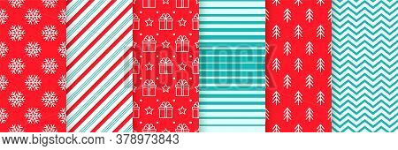 Christmas Seamless Backgrounds. Vector. Xmas New Year Pattern. Prints With Candy Cane Stripe, Snowfl