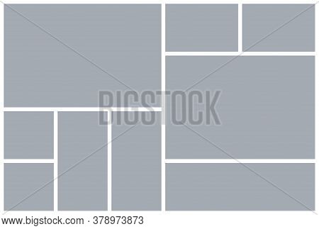 Photo Collage Grid. Mood Board Template. Vector. Moodboard Design. Mosaic Frame Banner. Gray Picture