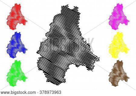 Diekirch District (grand Duchy Of Luxembourg) Map Vector Illustration, Scribble Sketch Diekirch Map