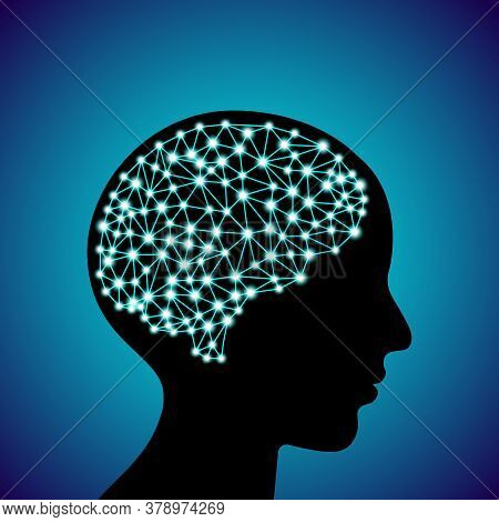 3d Digital Neuro Glowing Particles Lines And Dots Plexus Structure Human Brain On Adult People Head