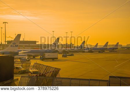 Amsterdam, Netherlands - September 17, 2017: September Dawn On The Airfield Of Schiphol Airport