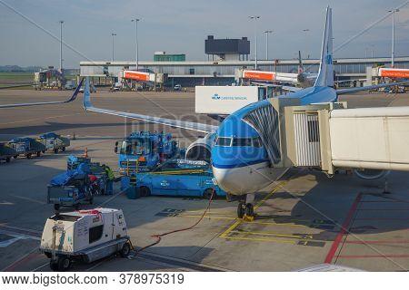 Amsterdam, Netherlands - September 17, 2017: Boeing 737 Plane Of Air France-klm Prepares For Departu