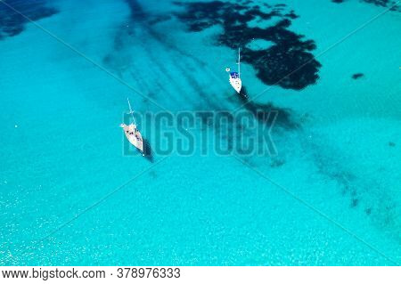 Croatia, Amazing Blue Seascape On Dugi Otok Island. Scenic Lagoon With Anchored Yachts, Overhead Vie