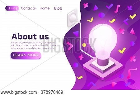 Creative Idea Brainstorm, Information Lamp Symbol, Online Web Site Design. Vector