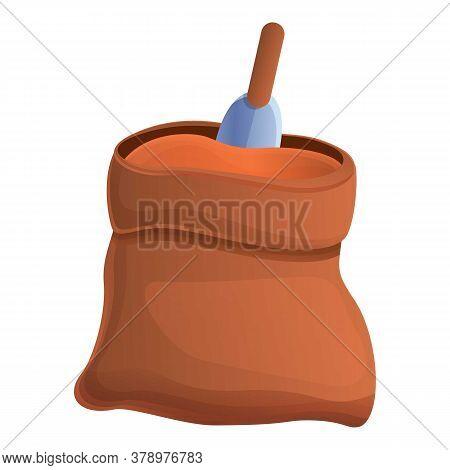Fertilizer Soil Sack Icon. Cartoon Of Fertilizer Soil Sack Vector Icon For Web Design Isolated On Wh