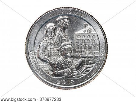 Ellis Island, New Jersey, American Quarter coin close up shot isolated on white background