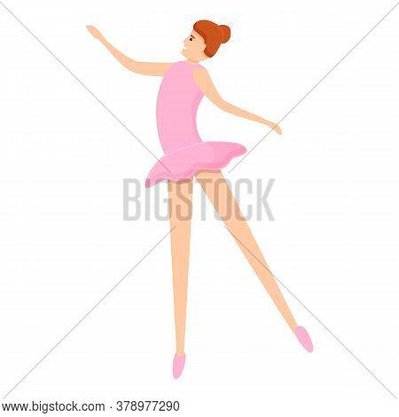Ballerina Dance Icon. Cartoon Of Ballerina Dance Vector Icon For Web Design Isolated On White Backgr