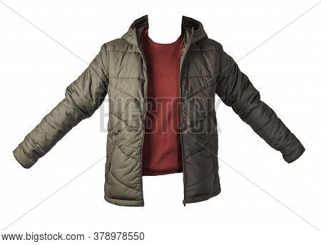 Dark Green Jacket And Burgyndy Sweater Isolated On White Background.bologna Jacket And Wool Sweater