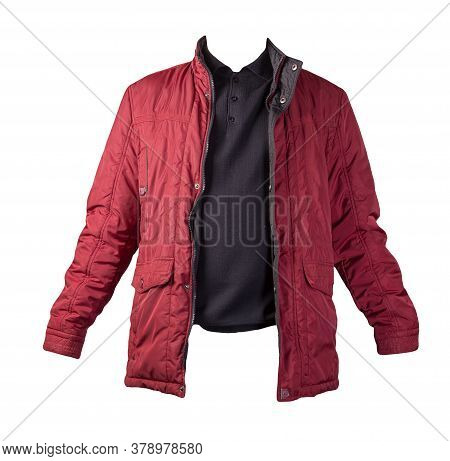 Red Jacket And Black Sweater Isolated On White Background.bologna Jacket And Wool Sweater