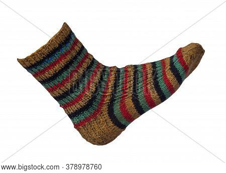 Woolen Yellow, Black, Turquoise, Red Striped Socks Isolated On A White Background. Winter Accessorie