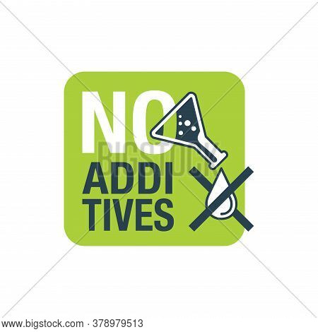No Additives Stamp - Crossed Out Drop Of Harmful Preservatives With Green Eco Plant On Background -