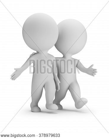 3d Small People - Two Walking Friends. 3d Image. White Background.