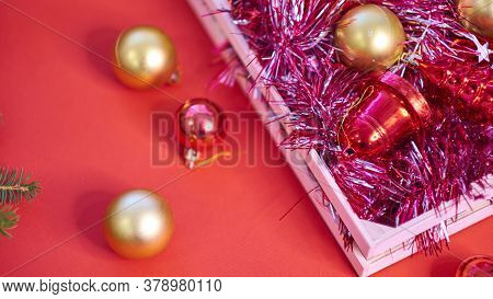 Christmas Background With Xmas Tree On Red Canvas Background. Merry Christmas Card. Winter Holiday T