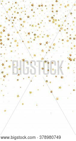 Gold Stars Random Luxury Sparkling Confetti. Scattered Small Gold Particles On White Background. Enc