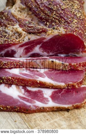 Fresh Tasty And Juicy Pork Meat Marinated And Ready For Eating, Dried Meat