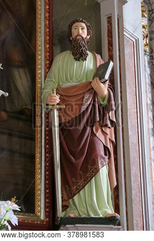 CIRKVENA, CROATIA - JUNE 26, 2013: St. Paul statue at the main altar in the Church of the Visitation of the Virgin Mary in Cirkvena, Croatia