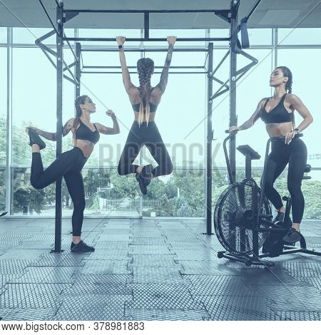 Creative Collage Of Fit One Young Woman Doing Functional Training, Image With Vintage Toning