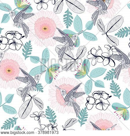Vector Hand Drawn Beautiful Pattern Of Decortive Plumeria And Gerbera Flowers And Humming-bird. Can