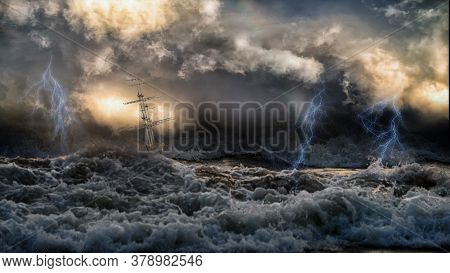 Silhouette Of Sailing Old Ship In Stormy Sea With Lightning Bolts And Amazing Waves And Dramatic Sky