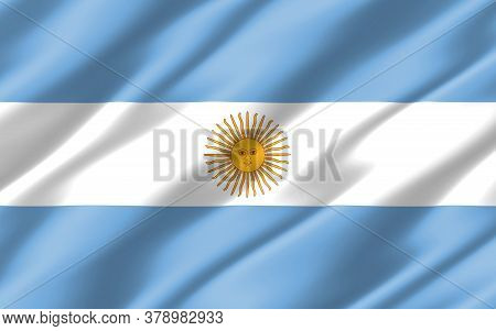Silk Wavy Flag Of Argentina Graphic. Wavy Argentinian Flag 3d Illustration. Rippled Argentina Countr
