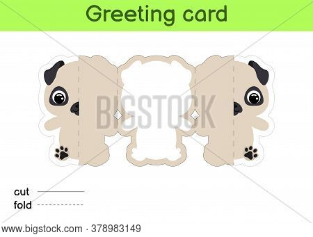 Cute Pug Dog Fold-a-long Greeting Card Template. Great For Birthdays, Baby Showers, Themed Parties.