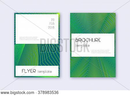 Stylish Cover Design Template Set. Green Abstract Lines On Dark Background. Favorable Cover Design.
