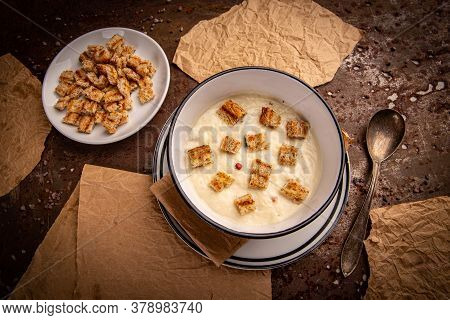 Garlic Cream Soup In White Bowl. Culinary Healthy Soup