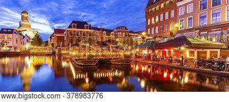 Leiden, Netherlands - July 23, 2020: Panoramic Leiden With Catharinabridge, Waterways, And Hartebrug