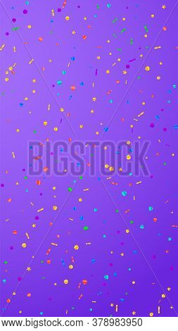 Festive Surprising Confetti. Celebration Stars. Festive Confetti On Violet Background. Good-looking