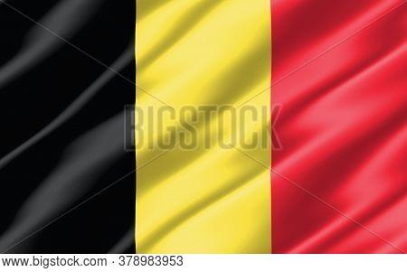 Silk Wavy Flag Of Belgium Graphic. Wavy Belgian Flag 3d Illustration. Rippled Belgium Country Flag I