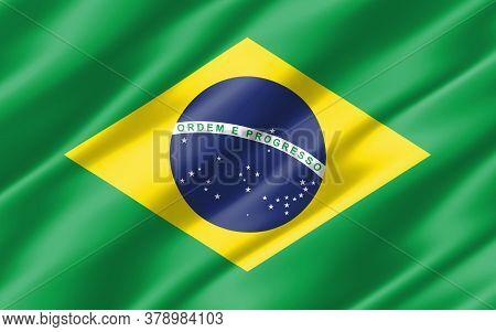 Silk Wavy Flag Of Brazil Graphic. Wavy Brazilian Flag 3d Illustration. Rippled Brazil Country Flag I